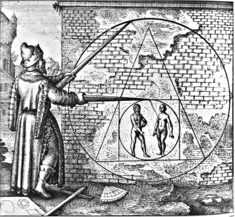 This image comes from Michael Maier's 1618 treatise on alchemy. It combines music, image and text to communicate alchemical knowledge to adepts. Note the combination of Pythagorean imagery with alchemical practice.